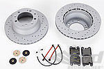 Brake Service Kit 964 C2 1990-92 - REAR - Drilled discs - 2 Piston Caliper