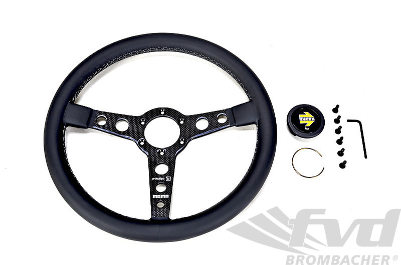 Steering Wheel - MOMO - Prototipo 6C - Black Leather / Carbon Spokes / Grey Stitching