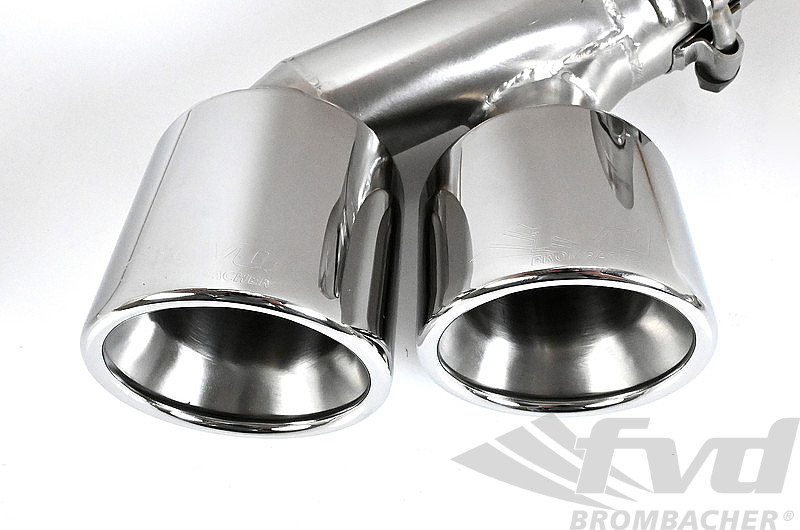 "Valved Exhaust System, 997.1 ""Brombacher"" with 200 Cell Cats, Quad 3.5"" (90mm) Tips"