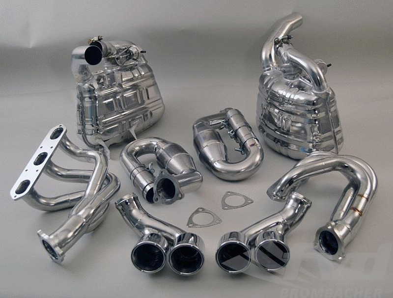 "Valved Exhaust System, 997.1 ""Brombacher"" with 100 Cell Cats, Quad 3.5"" (90mm) Tips"